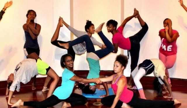 Photo from Chelsea Jackson Robert's yoga class in Atlanta, GA By ELLE magazine